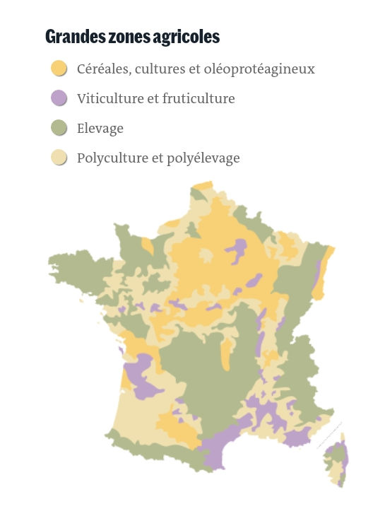 Carte de l'utilisation de pesticides en France (Le Monde sept 2019)